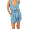 image of wholesale closeout bershka v neck tencel tie waist romper