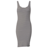 image of wholesale closeout black white strips dress