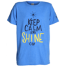 image of wholesale closeout blue keep calm and shine on t shirt