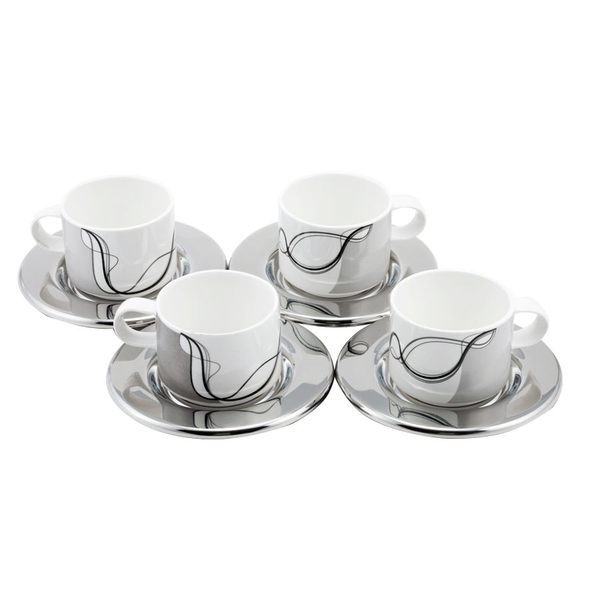 image of liquidation wholesale cup set silver white