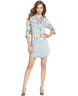 image of wholesale closeout denim fether print dress