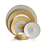 image of wholesale closeout gold white dinner set