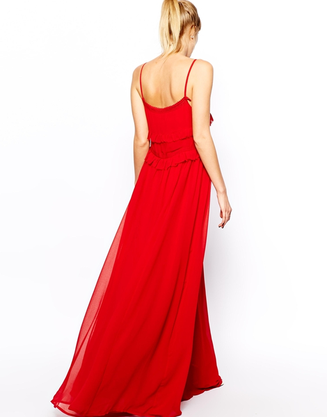 image of wholesale mango red strappy maxi dress