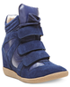 image of wholesale closeout navy sneaker wedges