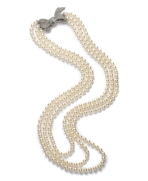 image of wholesale closeout pearl bow necklace