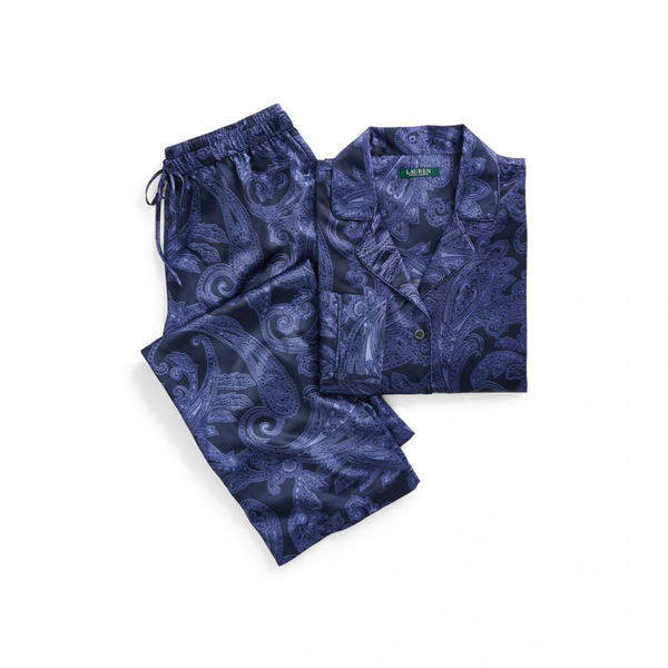 image of wholesale ralph lauren navy paisley satin pajama set womens
