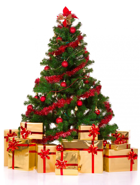 image of liquidation wholesale red decorated tree gold presents