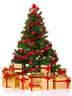 image of wholesale closeout red decorated tree gold presents