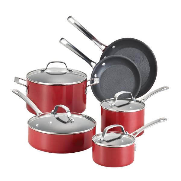 image of wholesale closeout red pots pans set
