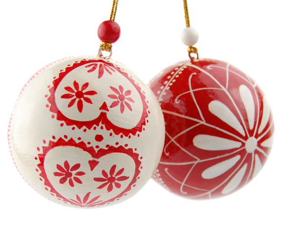 image of wholesale closeout red white tree ornaments