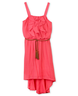 image of wholesale closeout ruffle front hi low belted dress