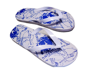 salvage new and return wholesale white blue used flipflops