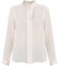 image of wholesale closeout white long sleeve silk blouse