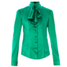 image of wholesale closeout womens green satin blouse